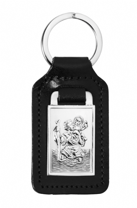 Sterling Silver St Christopher Key Fob Keyring